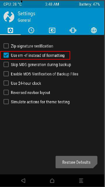 USE rm rf instead of formatting