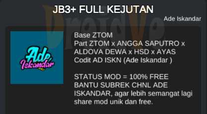 Credit MOD BussID Bus JB3+ Full Kejutan